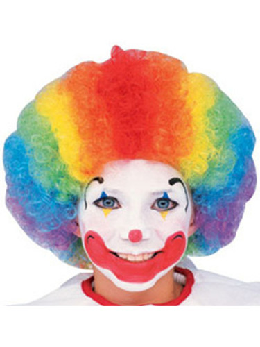 Child Adult Multi-Color Rainbow Striped Clown Afro Wig