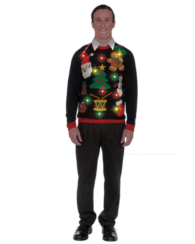 Adults Mens Everything Christmas Light Up Ugly Christmas Eve Sweater