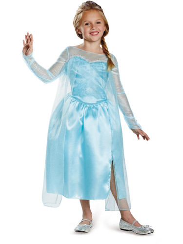 Childs Girls Disney Classic Blue Frozen Princess Elsa Snow Queen Costume