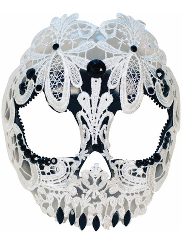 Adult's Womens Skeleton Skull Lace Masquerade Mask Costume Accessory
