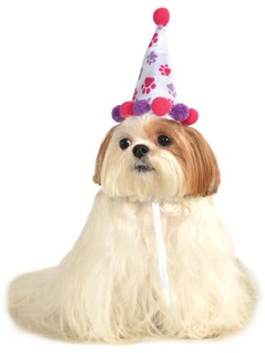 Pink Purple Birthday Girl Paw Prints Clown Hat For Pet Dog