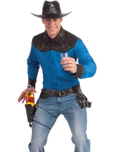 Drink Slinger Cowboy Bar Tender Costume Bottle And Shot Glass Holster Set
