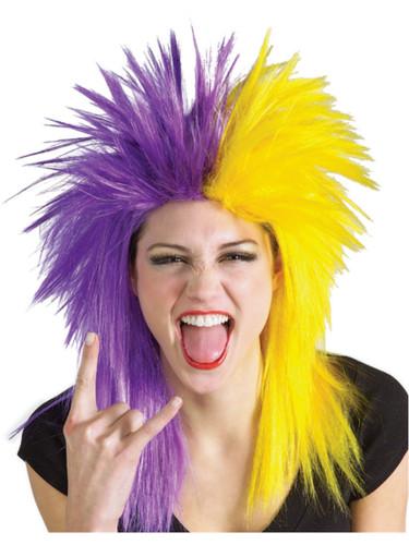 Adult Purple and Yellow School and Team Spirit Sports Fanatix Wig