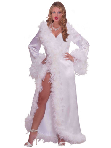 Adult Vintage Hollywood Starlet Goddess White Marabou Satin Robe Costume