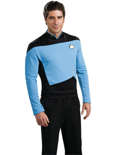 Star Trek The Next Generation Blue Science Officer Adult Deluxe Costume Shirt