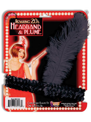 New Black Sequin Flapper Costume Headband with Feather