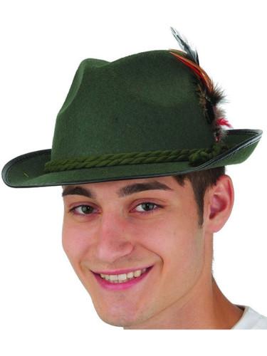 Adults Mens Green Felt Bavarian Hat Costume Accessory