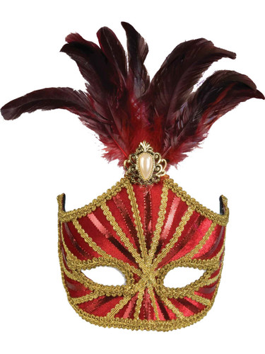 Deluxe Costume Red And Gold Mardi Gras Carnival Mask With Feather Plume