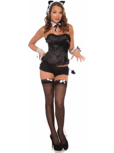 Womens Sexy Black Playboy Bunny Burlesque Costume Corset Top