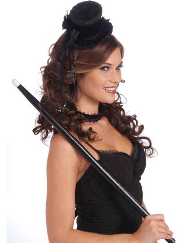Women's Victorian Costume Black Mini Top Hat With Lace Trim