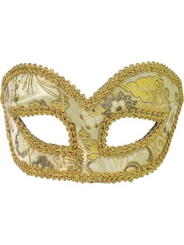Deluxe Gold Flower Pattern Mardi Gras Venetian Eye Half Mask