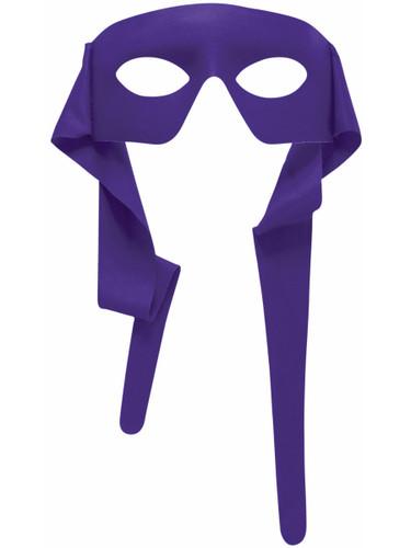 Mens Purple Masked Man With Ties Venetian Mardi Gras Mask Costume Accessory