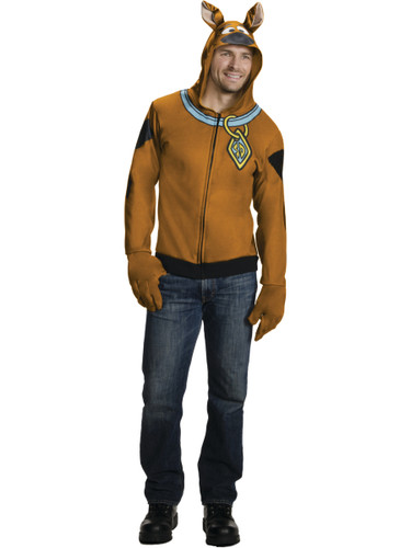 Adult's Scooby-Doo Dog Hoodie With Attached Ears And Gloves Costume
