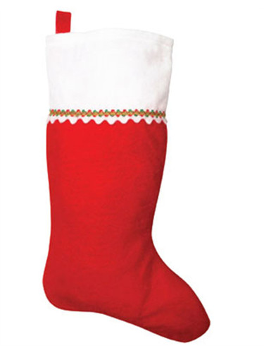 "19"" Felt Red and White Decorative Christmas Stocking"
