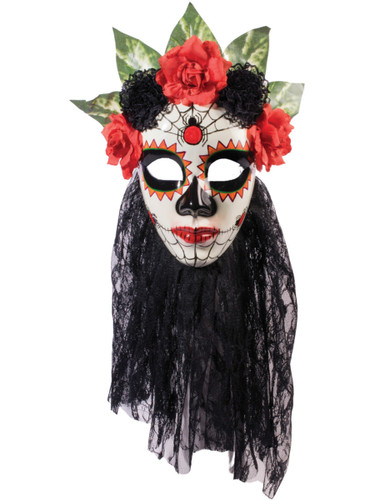 Day Of The Dead Spider Skull Veil Venetian Carnival Mask Costume Accessory