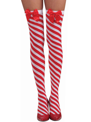 Women's Sexy Striped Red White Candy Cane Thigh Highs Costume Bows Stockings