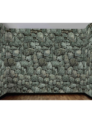 Large 20' x 3' Dungeon Decor Stone Wall Background Scene Setter Decal