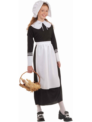 4 Piece Girl's Pilgrim Settler Costume Lace Accessory Set