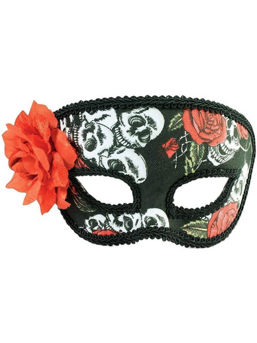 Day Of The Dead Flower Skull Venetian Party Half Mask Costume Accessory