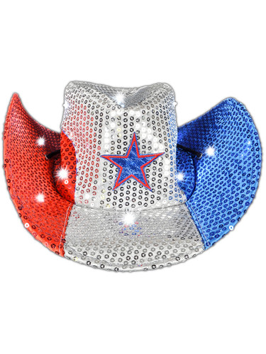Adult's Patriotic July 4th Independence Light Up Cowboy Hat Costume Accessory