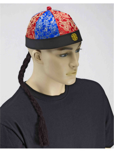 Adult Oriental Asian Chinese Coolie Beanie Hat with Pigtail Braid