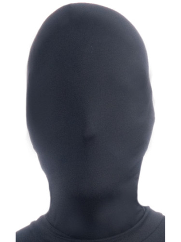 Disappearing Man Scary Evil Black Nylon Fabric Costume Mask Hood