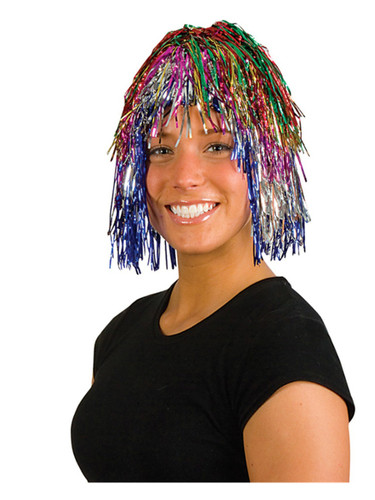 Adults or Childs Economy Rainbow Multi-Color Foil Tinsel Costume Wig