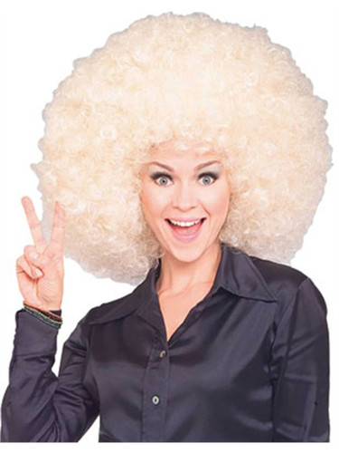 Mens Womens Costume Huge Blonde Afro Disco Clown Wig