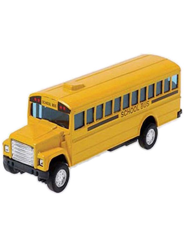 """4.5"""" Metal Pull Back And Go Yellow Die Cast School Bus Toy Car Vehicle"""