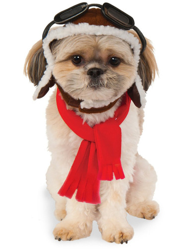 Aviator Pilot Hat With Goggles And Scarf For Pet Dog Costume Accessory
