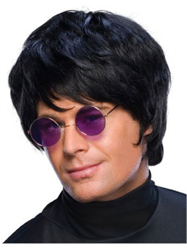 Adult Mens Costume Short Black Pop Star Beatle Mop Wig