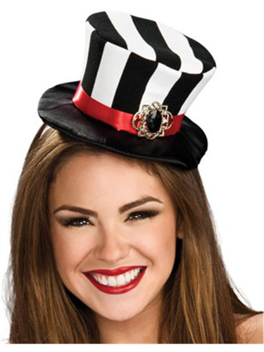 Women's Black and White Mini Top Hat With Pendant