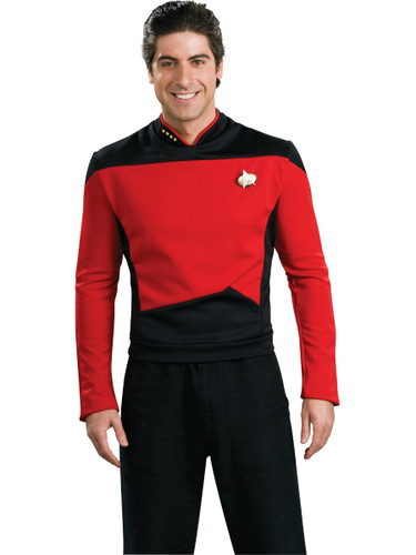 Star Trek The Next Generation Red Command Captain Adult Deluxe Costume Shirt