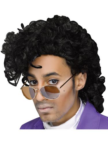 Adults Minnesota Singer Royal Purple Pain Black Curly Wig Costume Accessory