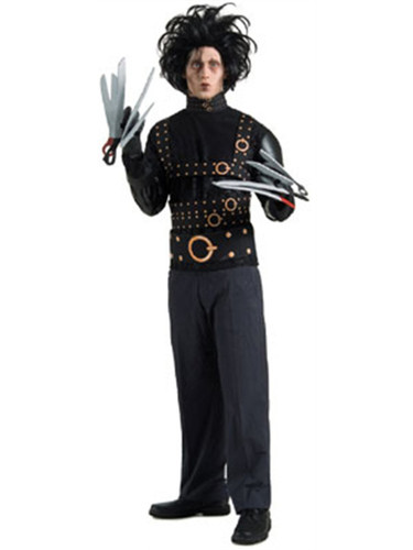 Adults Edward Scissorhands Costume With Wig & Gloves