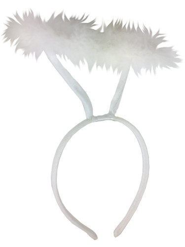 White Marabou Feather Angel Heavenly Halo Headband Costume Accessory