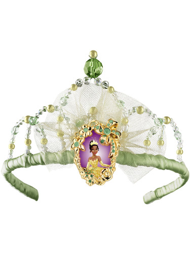 Costume Fairy Princess Tiana Queen Green White Tiara