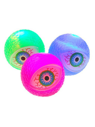"Assorted Green Red Blue 2"" Squishy Bouncing Flashing Monster Eyeball Ball Toy"