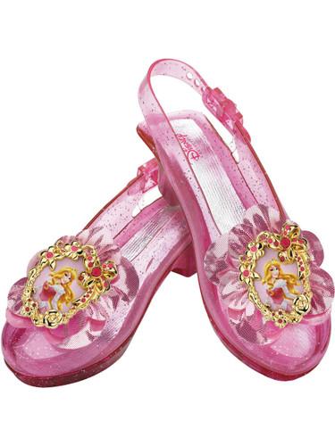 Child Pink Disney Princess Aurora Sleeping Beauty Costume Glitter Shoe Slippers