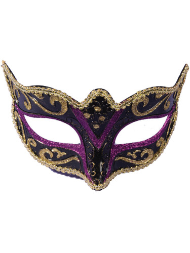 Adults Black And Purple With Gold Trim Venetian Masquerade Half Mask