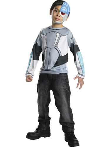 Child's Boys Teen Titans Go Cartoon Cyborg Shirt Mask Costume Top