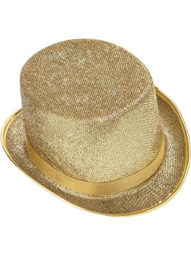 Deluxe Gold Glitter Jazz Dance Mardi Gras Costume Top Hat