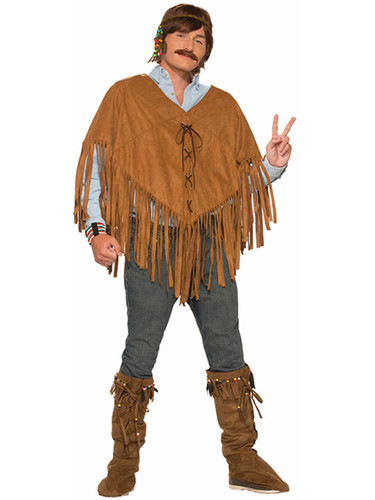 60s 70s Woodstock Hippie Brown Suede Fringed Poncho Costume Accessory