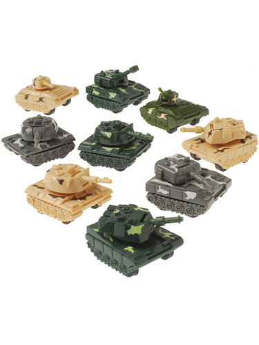 Armored Tanks Military Modern Warfare Pull Back Car Tank Toy 12 Pack