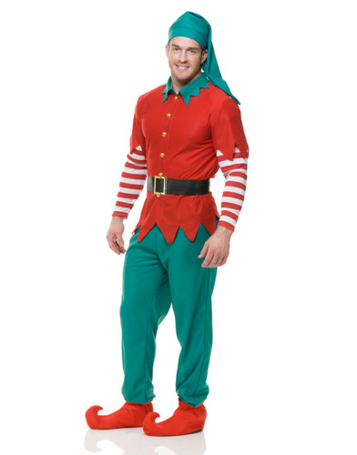 Adult's Holiday Christmas Elf Costume With Pants