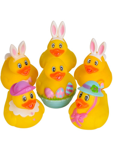 Set Of 12 Easter Bunny Rabbit Rubber Duckies Bath Ducks Toys