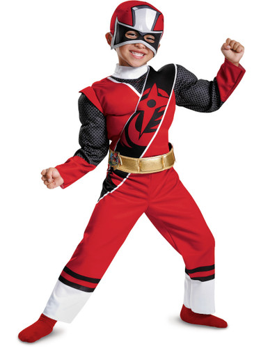 Child's Boys Power Rangers Ninja Steel Red Ranger Muscle Costume