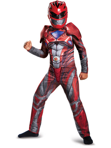 Child's Boys Classic Muscle Chest Power Rangers Movie Red Ranger Costume