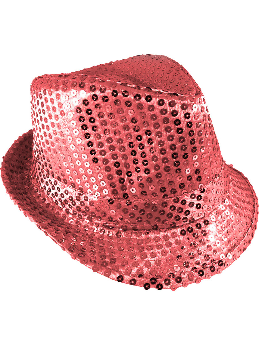 ee734618cd9 Adults Pink Light Up Sequin Gangster Fedora Hat Costume Accessory