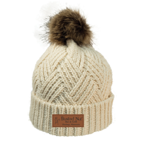 The Busted Nut Hatch Knit Fur Pom Cap - Cream